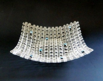 Woven Fused Glass Dish // Clear and Blue Sparkle // Candy // Berries // Neutral // Small // Display // Home Decor // Weave // Bowl