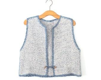 Vintage Cardigan Sweater * 1980s Knit Waistcoat * 80s Cropped Cardi Vest * Large
