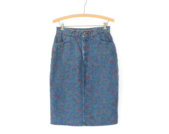 Floral Jean Skirt * Vintage 80s Pencil Skirt * 1980s Denim Skirt * Medium