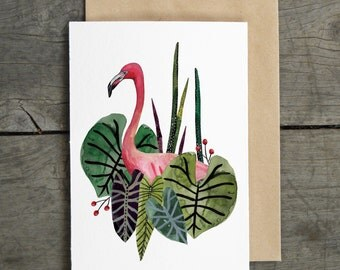 Flamingo Tropical Greeting Card