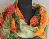 Rowanberry hand painted silk chiffon scarf in shades of orange, moss green and ivory. One-of-the-kind art scarf, healing gift for mom
