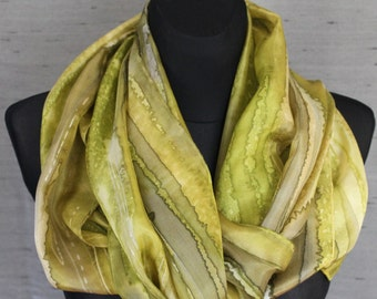 Olive Green scarf. Natural colors: Bamboo, OliveDrab, Sage Green, Dark Khaki hand painted silk scarf. Elegant accessory with healing energy