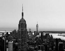 Black and White New York Photography, Manhattan Skyline, Men, NYC Art, Modern, Urban, Wall Decor