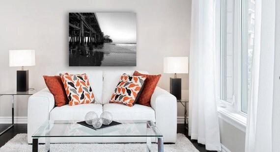 Santa Monica Pier, Beach Canvas, Black and White Photography, Large Wall Art Canvas, Gray, California Canvas