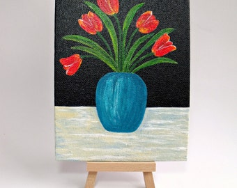 Red tulips in turquoise vase -  Small original acrylic painting on canvas - Floral still life