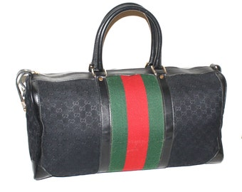 GUCCI Vintage Handbag Duffle Black Monogram Canvas Web Travel Tote  - AUTHENTIC -