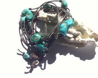 Silver and Turquoise Leather Wrap Bracelet, Three Strand Wrap, Festival Jewelry, Bohemian Western Style Cuff