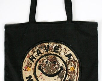 Black Tote with Sequins- HAVE A NICE DAY