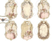 Marie Antoinette Aged Digital Instant Download Vintage French  Tags hang tags - aceo - altered art - digital Collage sheet