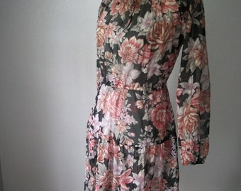 Pretty 70s Sheer Spring Floral Peasant Dress - Bohemian Tea Time