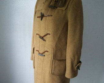 70s Wool Gloverall English Duffle Toggle Coat Size 10 - Harrods Olympic Way - Made in England