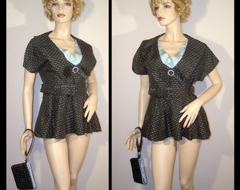 Vintage 1940s 1950s black and baby blue peplum blouse ~ Large ~ rayon ~ pleated satin ~ bag ~ with matching hand made wristlet clutch purse
