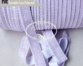 "White / LAVENDER LACE Patterned Fold Over Elastic Shabby Printed. foe - 5/8"" foe 2, 5 or 10 Yards. DIY Headband Supplies"