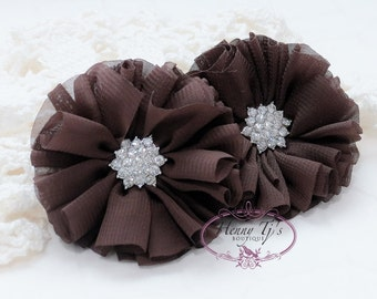 "2 pcs 2.5"" Adeila Ballerina DARK BROWN Shabby UNFrayed Chiffon Ruffle Flowers with Rhinestone, Silk Flowers, applique , hair accessories"