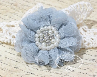 "Reilly Lace : 2 pcs GREY Gray Soft Chiffon and Lace Ruffle (3"" inch) Fabric Flowers w/ Rhinestones Pearls - Layered Beaded fabric flowers"