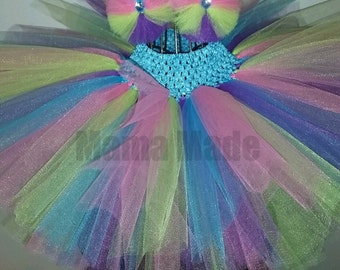 Hot Pink, Lime, Purple and Turquoise Tutu w/ matching hair accessory,bright tutu ,girls tutu,flower girl tutu,birthday tutu,wedding tutu,
