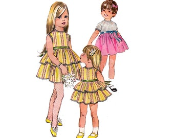 60s Girls Party Dress Pattern Simplicity 8068 Retro Full Skirt High Waist Dress Vintage Sewing Pattern Size 5 chest 24 inches