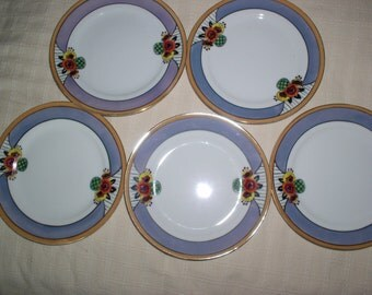"Vintage Noritake Green M Handpainted Lusterware 7.5"" salad plates FIVE Dishes Japan"
