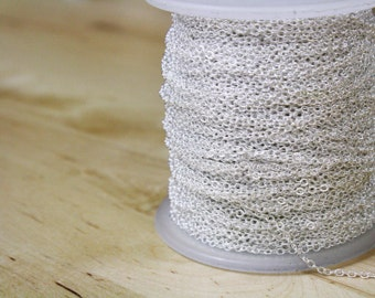 CLOSEOUT SALE 100 Feet ft Spool of Silver Plated Oval Cable Chain / Flat Link / Soldered Links / 2x2mm / (100 Feet / 30 meters) [CHN14004]