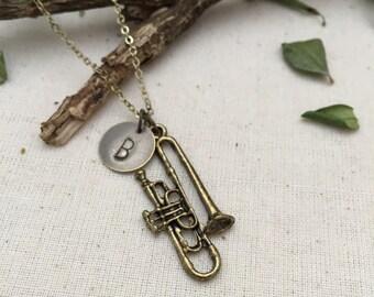 ON SALE - Trumpet Necklace, Music Necklace, Initial Necklace, Best friend Gift, Best friend Necklace, Gift Ideas, Handmade Necklace