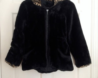 90s LIMITED TOO Fuzzy Leopard Crop Jacket