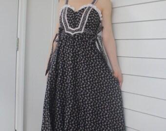 Vintage 70s Gunne Sax Dress Black Maxi XXS XS Summer Floral Prairie