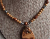 Exotic Wood Pendant Beaded Necklace, Corrugatta Burl wire wrapped non tarnish Vintage bronze