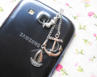 Nautical Phone Charm, Dust Plug, Phone Charm, Anchor, Mermaid, Sailboat, Silver Phone Charm, Ocean, Marine, iPod, Android, iPhone