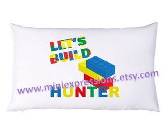 Let's Build Lego PillowCase Personalized just for you Little Lego Build of yours
