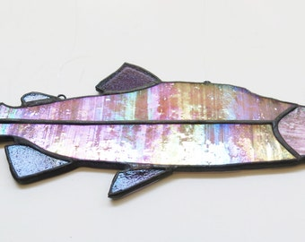 Salmon Fish Stained Glass Suncatcher