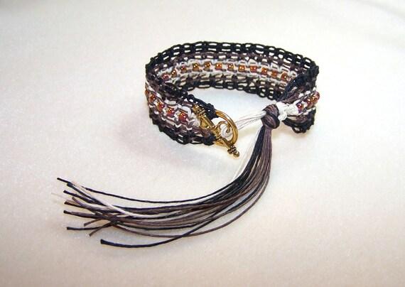 Macrame Bracelet Macrame Jewelry Hemp Bracelet Brown Bracelet Fiber Jewelry Tassel Bracelet for Him Toggle Bracelet for Her Canadian Shop