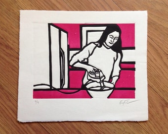 Domestic Scene Linocut 5 by Erin Landry Fowler (Baking), Limited Edition - kitchen - hot pink - black