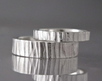 Bark Textured Sterling Silver Wedding Band - Choice of 2 to 8mm Wide Hammered Silver Wedding Ring