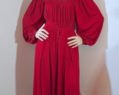 Vintage 1970s Boho Maxi Dress / 70s Red Disco Dress / 1970s Long Sleeve Maxi Gown / Studio 54 Disco Dress Ayres by E Eysen - OSFM