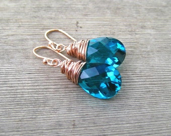 Paraiba Blue Earrings,  Rose Gold Filled,  Quartz Pear Shape Briolette, Wire Wrapped, Teal Blue, Paraiba Jewelry, Pink Gold Earrings
