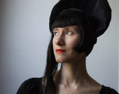 Black Velvet Halo Hat - Handmade vintage inspired hat