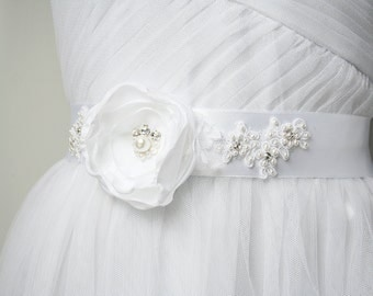 Bridal Flower Sash, White Bridal Sash, Flower Sash