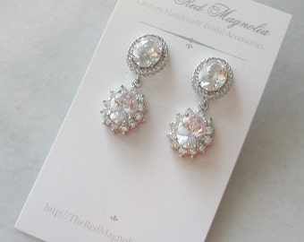 Delicate Crystal Earrings, Bridal Earrings, Cubic Zirconia Dangle Earrings - AMARIS