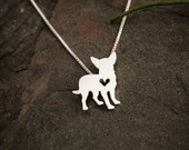 Chihuahua necklace, sterling silver necklace, hand cut pendant