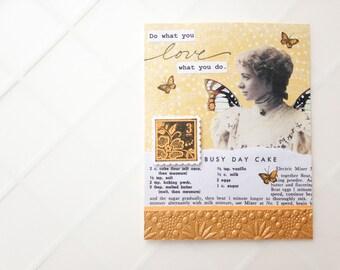 Do what you LOVE, love what you do. Handmade Card - mustard yellow, recipe, butterflies - thank you, graduation, congratulations