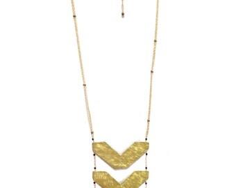 Brass Chevron Ladder Necklace