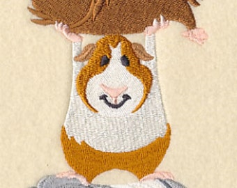Guinea Pig Stack Animal Stack Embroidered Quilt Block Square or White Cotton Towel