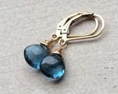 Petite London Blue Topaz Earrings. December birthstone