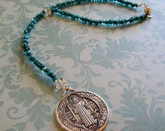 Saint St Benedict Medal. Beaded Rear View Mirror Charm Protection, Auto Car Vehicle, Easy Magnetic Clasp, Green aqua teal crystal silver