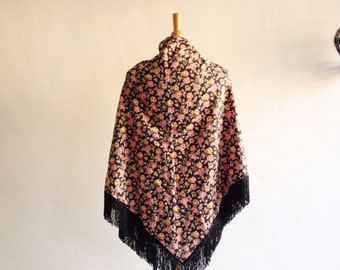 Vintage 1960s Joseph Magnin Psychedelic Floral Fringed Triangle Shawl