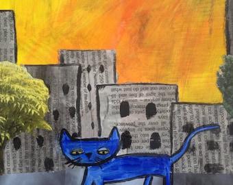 Blue Cat, Street Cat, original collage painting
