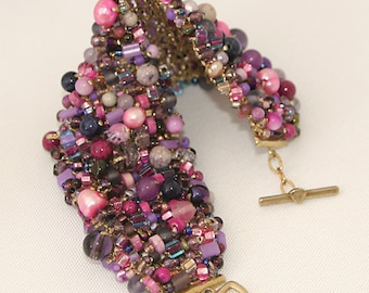 Shades of Purple  Beaded Wide Statement Cuff Bracelet with Triangle Clasp - Cyberlily