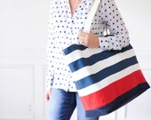 EXTRA Large Beach Bag // Tote in Navy Horizontal Stripes with Red Stripe and Indigo Denim