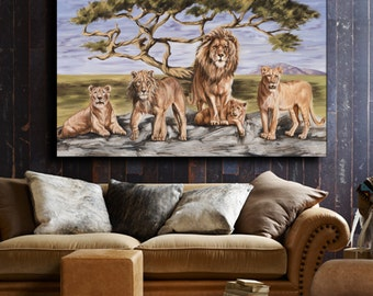 LION Painting African artwork CANVAS print