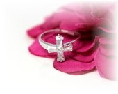 First Communion Sterling Silver Ring with Crystal CZ Cross Baguette Cross Size 5